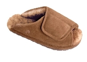 Women's Sheepskin Moccasins - women-sheepskin slipper-WRAP - Anti-slip TPR rubber sole, golden tan and ivory sheepskin; sizes: S-M-L-XL