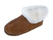 Lady's Sheepskin Moccasins - Ankle-Hi Slipper-Shoe-Booties - Made with warm, soft, genuine SHEEPSKIN furs outside lined with suede cowhide for protection and durability. Leather outsole for soft and warm indoor use
