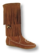 Women's Knee-Hi Prairie Style Boots, fully Leather Lined, lightweight rubber outsole, and padded insole. Fully covered with two layers of fringe. Inside Zipper for easy put-on and comfort. Made with soft, strong and supple suede.
