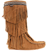 Women's Knee-Hi Prairie Boots, cow suede upper and fully leather lining, lightweight rubber outsole and padded insole, 3-Tier suede fringe, Rear-Zip closure.